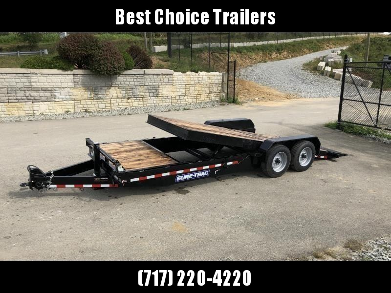 "2020 Sure Trac Gravity Tilt Equipment Trailer 7'X18+4' 16000# * OAK DECKING * 8"" TONGUE/FRAME * HD NOSEPLATE COUPLER * 12K JACK"