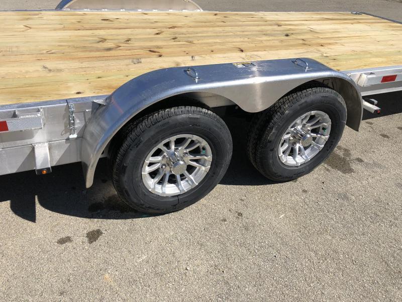 2019 H&H 7x22' Aluminum Power Tilt Car Trailer 9990# GVW * TORSION * 4 SWIVEL D-RINGS * 4 EXTRA STAKE POCKETS * TOOLBOX