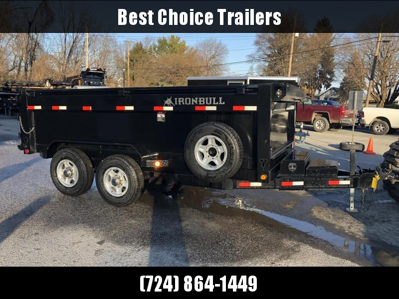 2018 Ironbull 7x14' 3' HIGH SIDES Dump Trailer 14000# GVW RAMPS * TARP * SCISSOR * TUBE JACK STANDS * SPARE MOUNT * CLEARANCE - FREE ALUMINUM WHEELS