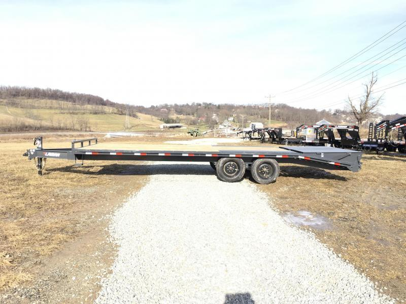 "2019 Lamar F8 102x24' Beavertail Deckover Trailer 14000# GVW * FULL WIDTH RAMPS * CHARCOAL * 16"" O.C. FLOOR * CHAIN TRAY"