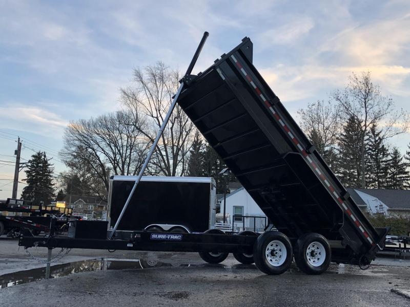 2019 Sure-Trac 7x16' LowPro HD Dump Trailer 14000# GVW * TELESCOPIC HOIST