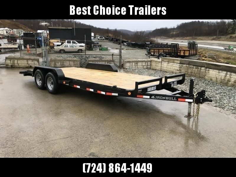 """2019 Ironbull 7x18' Wood Deck Car Hauler Trailer 9990# GVW * OVERWIDTH RAMPS * 16"""" O.C. FLOOR * CHANNEL C/M * RUBRAIL/STAKE POCKETS/PIPE SPOOLS/D-RINGS * CLEARANCE - FREE ALUMINUM WHEELS"""