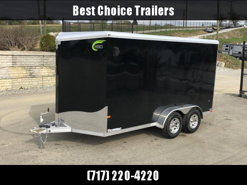 2019 Neo 7x16 NAVR Aluminum Enclosed Cargo Trailer * BLACK EXTERIOR * RAMP DOOR * ALUMINUM WHEELS * PLASTIC VENTS * PRO STAB JACKS