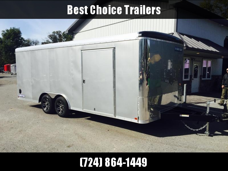 2018 Sure-Trac 8.5x20' 9900# STRCH Commercial Enclosed Cargo Trailer * ROUND TOP * RAMP DOOR  * SILVER * CLEARANCE - FREE ALUMINUM SPARE