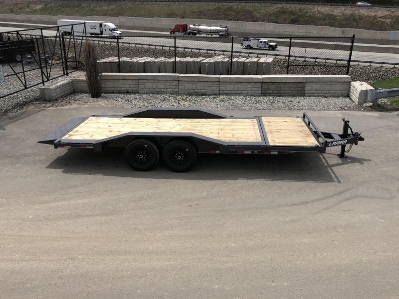 """2019 Lamar Gravity Tilt Equipment Trailer 102x16+4 14000# GVW * Torsion * Stop Valve * 102"""" Deck * Drive over fenders * Charcoal w/ black wheels"""