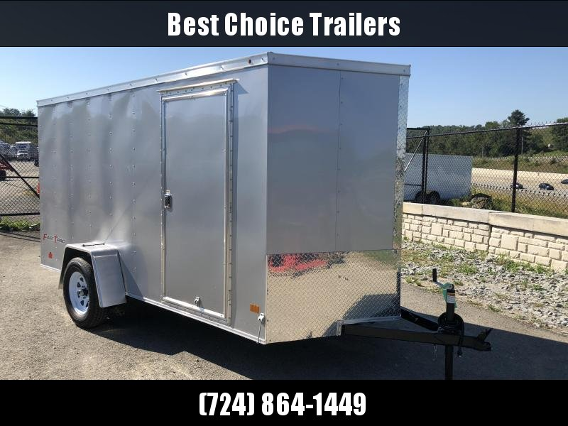 2018 Wells Cargo 6x12' Fastrac Enclosed Cargo Trailer 2990# GVW * SILVER EXTERIOR * RAMP DOOR * CLEARANCE - FREE ALUMNIUM WHEELS