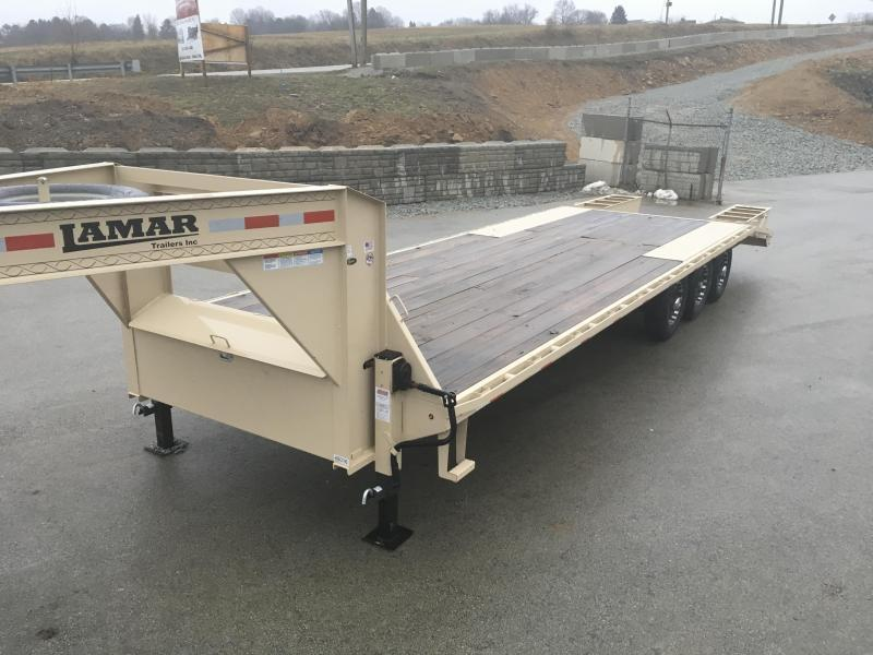 2019 Lamar 102x23+5' Gooseneck Beavertail Deckover Trailer 21000# * 2 FLIPOVER RAMPS + POP UP DOVE * CHARCOAL