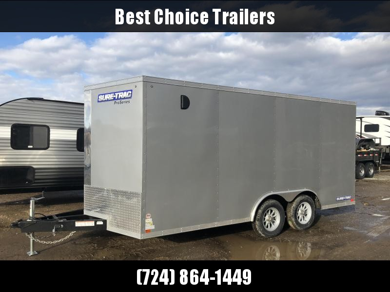 2018 Sure-Trac 8.5x16' Enclosed Cargo Trailer 9900# GVW * SILVER