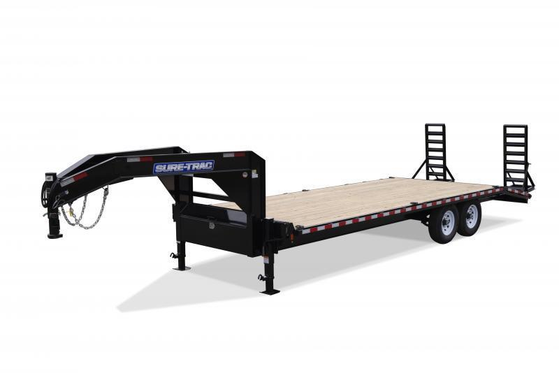 """2019 Sure Trac Gooseneck Beavertail Flatbed Deckover Trailer * ST102204SDDO-GN-150 * 4"""" CHANNEL STAND UP RAMPS"""