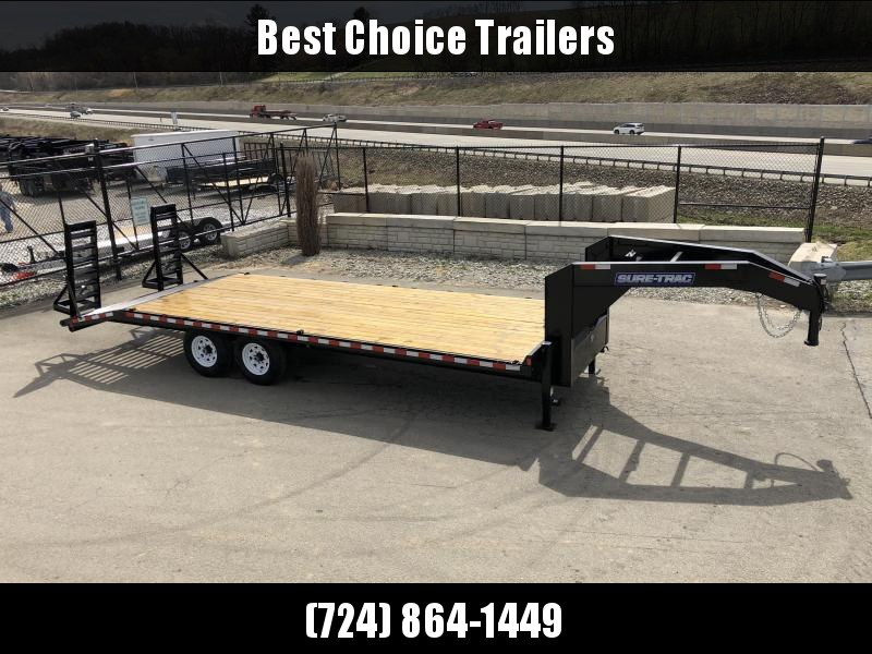 "2019 Sure Trac Gooseneck Beavertail Flatbed Deckover Trailer * ST102204SDDO-GN-150 * 4"" CHANNEL STAND UP RAMPS"
