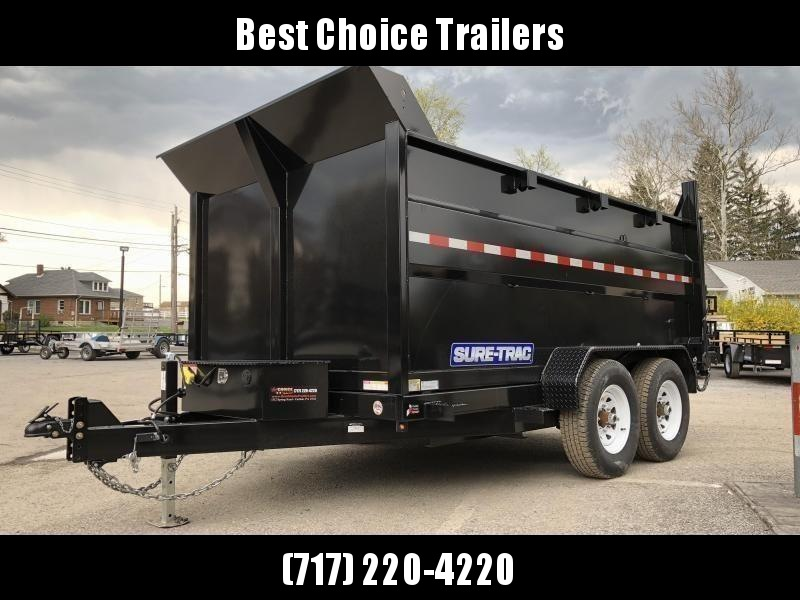USED 2018 Sure-Trac 7x12' Low Profile Hydraulic Dump Trailer 12000# 4' HIGH SIDES + BULKHEAD * TARP KIT