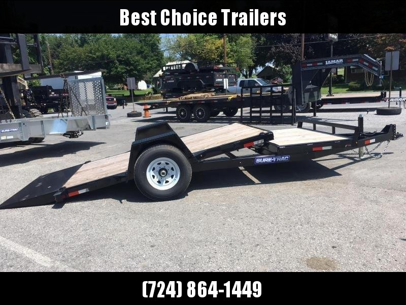 "2018 Sure-Trac 78""x12+4' Tilt Equipment Trailer Scissor Hauler 7800# GVW * OAK DECK * CLEARANCE - FREE ALUMINUM WHEELS"
