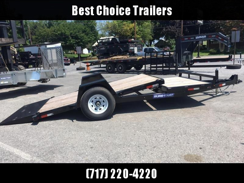 "2018 Sure-Trac 78""x12+4' Tilt Equipment Trailer Scissor Hauler 7800# GVW * OAK DECK"