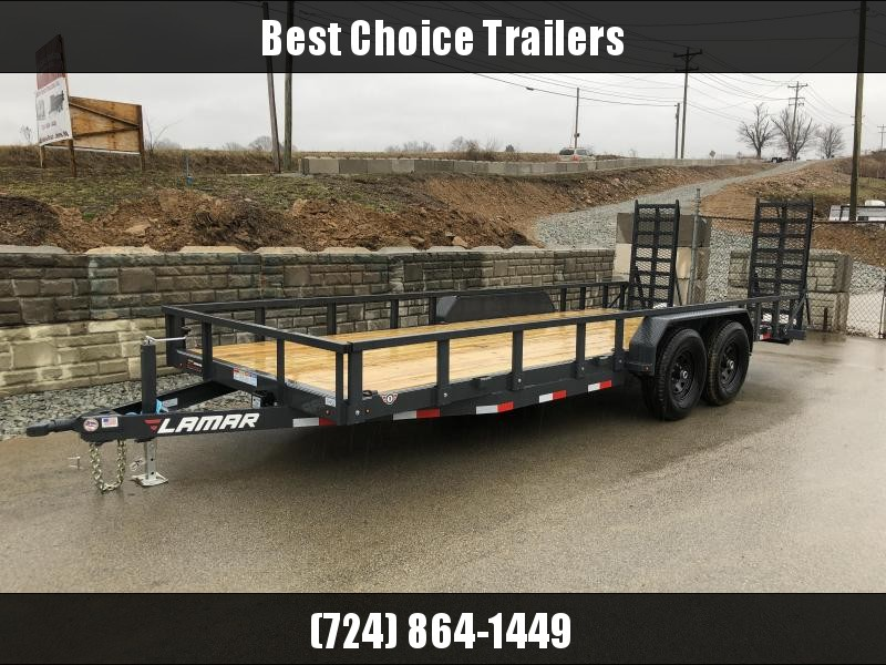 2018 Lamar 7x20' HD Utility Trailer 9990# GVW - SPECIAL RAMPS * REMOVABLE SIDES * CHARCOAL