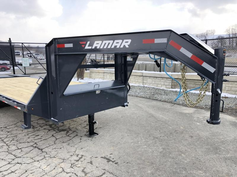 2019 Lamar 102x19+5' Gooseneck Beavertail Deckover Trailer 14000# GVW * CHARCOAL POWDERCOAT * FLIPOVER RAMPS * POP UP DOVETAIL