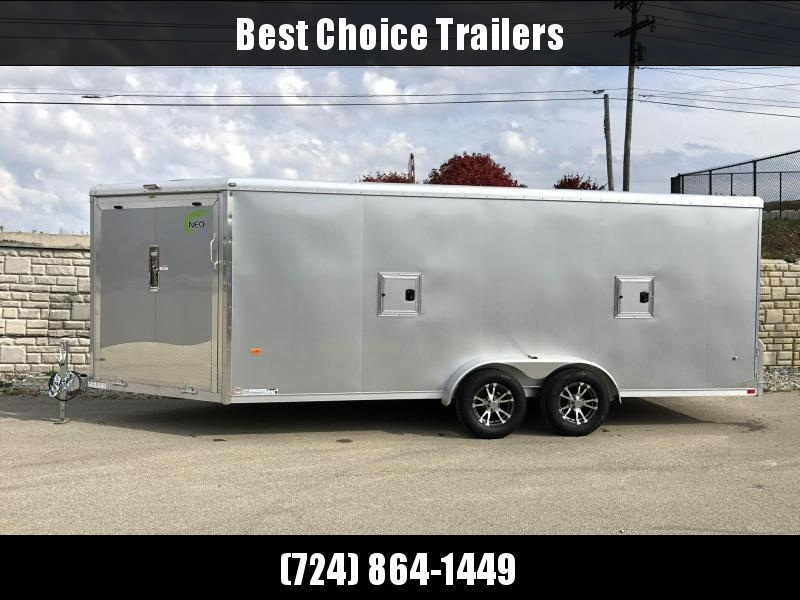 2019 Neo 7x22' Aluminum Enclosed Snowmobile All-Sport Trailer * LOADED MODEL * 3-PLACE * SILVER