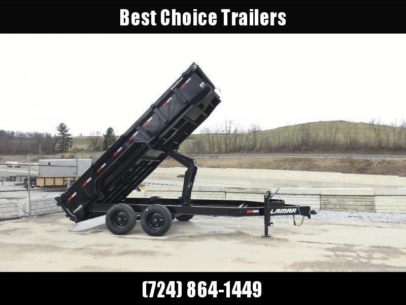 "2018 Lamar 7x16' Dump Trailer 16000# GVW * 8K AXLE UPGRADE * TARP * RAMPS * DUAL 12K JACKS * 17.5"" RUBBER * SPARE * REAR SUPPORT STANDS * OIL BATH * CHARCOAL"