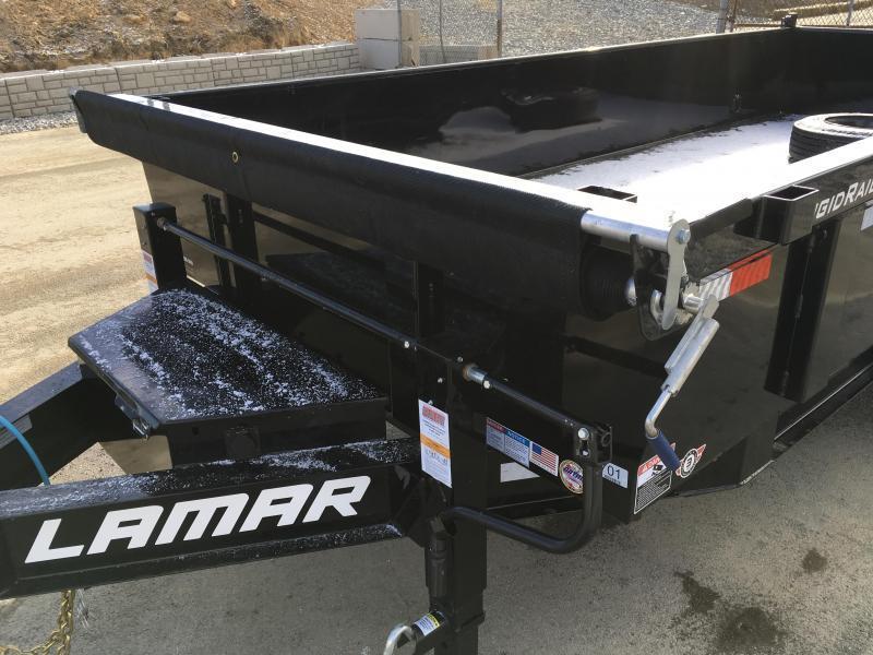"2018 Lamar 7x16' Dump Trailer 16000# GVW * 8K AXLE UPGRADE * TARP * RAMPS * DUAL 12K JACKS * 17.5"" RUBBER * SPARE * REAR SUPPORT STANDS * OIL BATH * CHARCOAL"