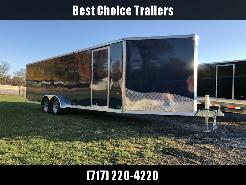 """2019 Neo 7x28' Aluminum Enclosed Snowmobile All-Sport Trailer * 4-SLED * INDIGO BLUE * FRONT RAMP * NXP LATCHES * FLOOR TIE DOWN SYSTEM * REAR JACKSTANDS * UPGRADED 16"""" OC FLOOR * UPPER CABINET"""