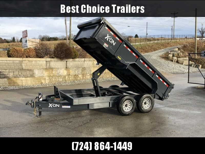 "2019 X-on 7x16' Low Profile Dump Trailer 16000# GVW * 8000# AXLE UPGRADE * 14-PLY RUBBER * 7 GA FLOOR * TARP KIT * SCISSOR * 3 WAY GATE * 8"" I-BEAM TONGUE & FRAME UPGRADE"