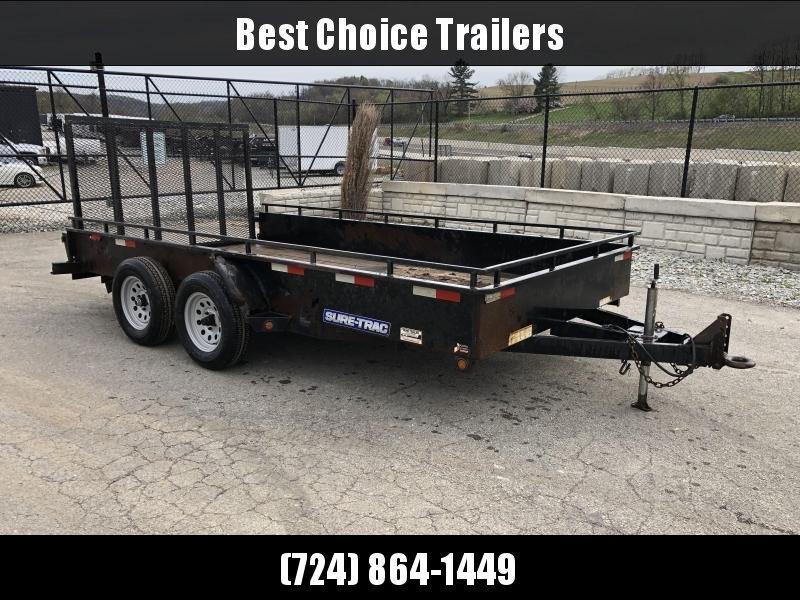 USED 2015 Sure Trac 7x14' Steel High Side Utility Landscape Trailer 7000# * ADJUSTABLE COUPLER in Ashburn, VA