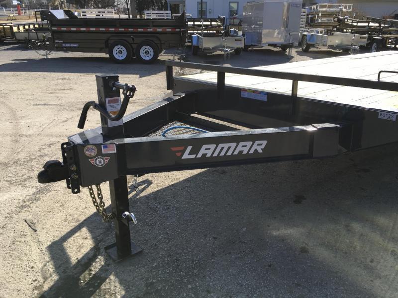 2019 Lamar F8 102x20' Beavertail Deckover Trailer 14000# GVW * STAND UP RAMPS * CHARCOAL