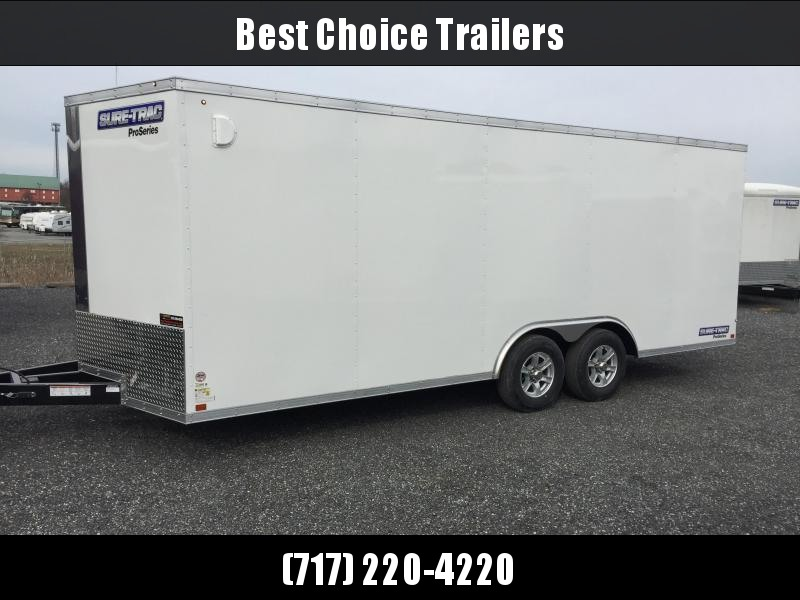 2018 Sure-Trac 8.5x24' 9900# STWCH Commercial Enclosed Cargo Trailer V-NOSE RAMP DOOR WHITE ALUMINUM WHEELS
