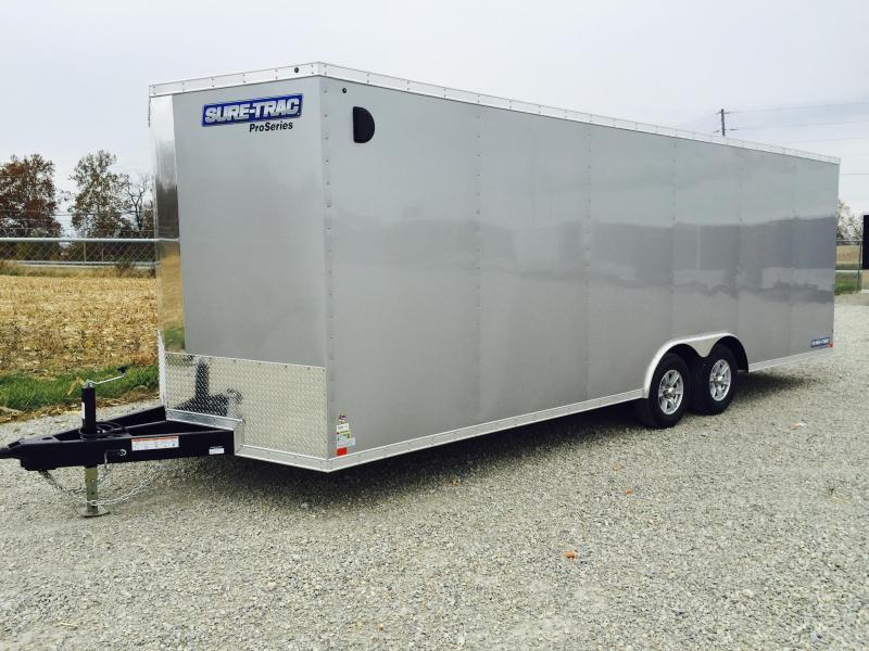 2018 Sure-Trac 8.5x24' 9900# STWCH Commercial Enclosed Cargo Trailer V-NOSE RAMP DOOR SILVER ALUMINUM WHEELS