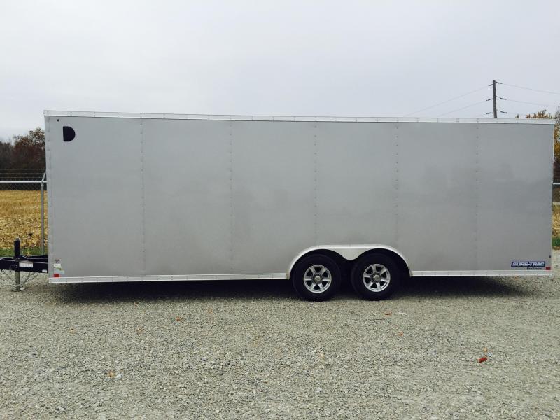 2018 Sure-Trac 8.5x24' 9900# STWCH Commercial Enclosed Cargo Trailer V-NOSE RAMP DOOR SILVER ALUMINUM WHEELS