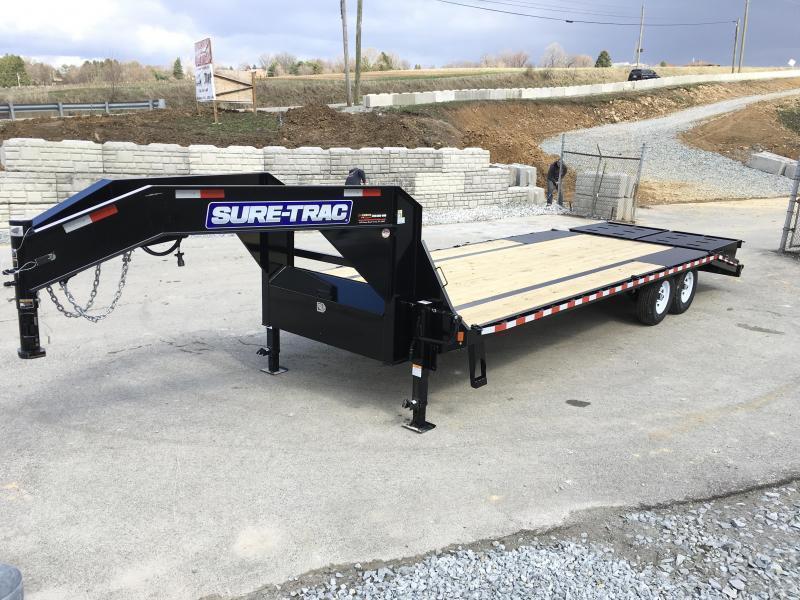 2018 Sure-Trac 102x20+5 15000# Gooseneck Beavertail Deckover Trailer PIERCED FRAME * 2 SPEED JACKS * MUD FLAPS