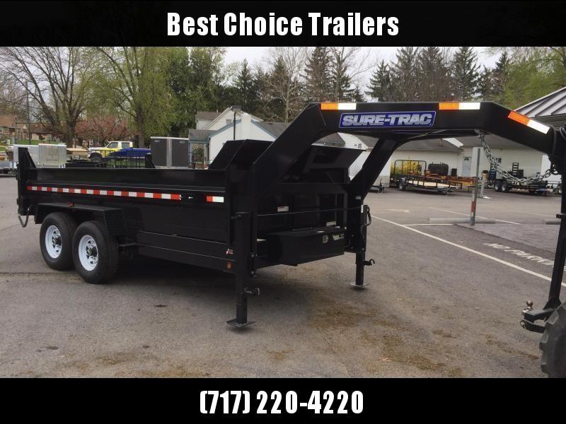 2018 Sure-Trac 7x14' Gooseneck Dump Trailer 14000# GVW * CLEARANCE - FREE ALUMINUM WHEELS
