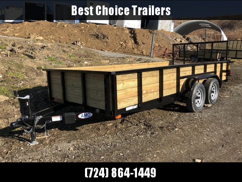"2018 AMO 76""x16' Wood High Side Angle Iron Utility Landscape Trailer 7000# GVW"