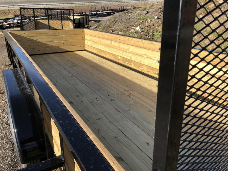 "2018 AMO 76""x16' Wood High Side Angle Iron Utility Landscape Trailer 7000# GVW * TUBE TOP UPGRADE * CLEARANCE - FREE ALUMINUM WHEELS"