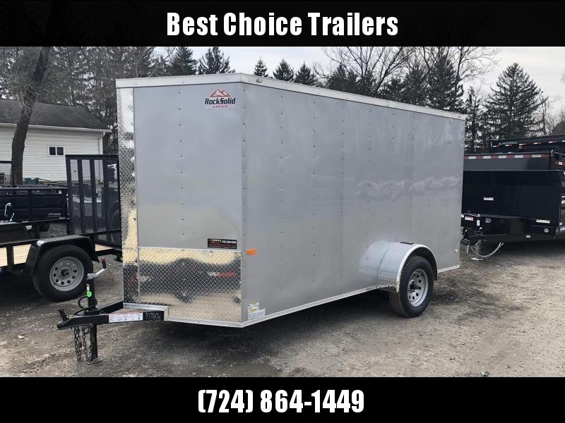 2019 Rock Solid 6x10' Enclosed Cargo Trailer 2990# GVW * SILVER * V-NOSE * RAMP