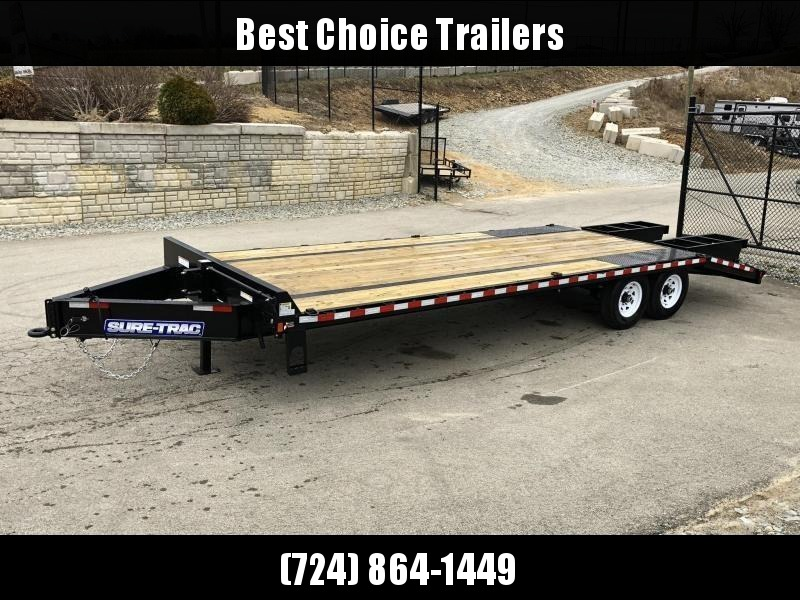 "2019 Sure-Trac 102x20+5 15K Beavertail Deckover Trailer * PIERCED FRAME * 12"" I-BEAM * CROSS TRAC BRACING"