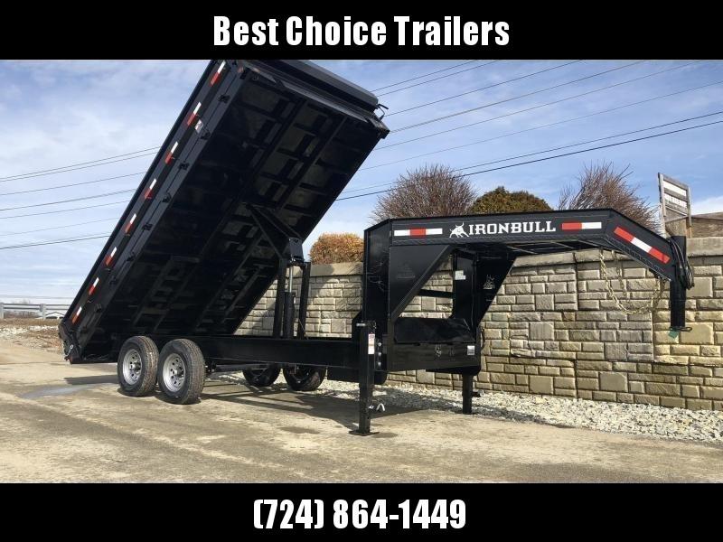 2019 Ironbull 8x16' Gooseneck Deckover Dump Trailer 14000# GVW * TARP KIT * I-BEAM FRAME * BED RUNNERS * FULL FRONT TOOLBOX * DUAL JACKS * FOLD DOWN SIDES * OVERSIZE 5x20 SCISSOR