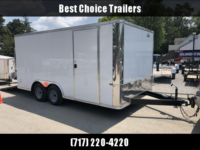 2019 Rock Solid 8.5x16' Enclosed Car Trailer 7000# GVW * WHITE