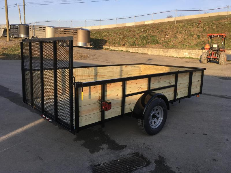 "2018 AMO 76""x12' Wood High Side Angle Iron Utility Landscape Trailer 2990# GVW * TUBE TOP UPGRADE * CLEARANCE - FREE ALUMINUM WHEELS"