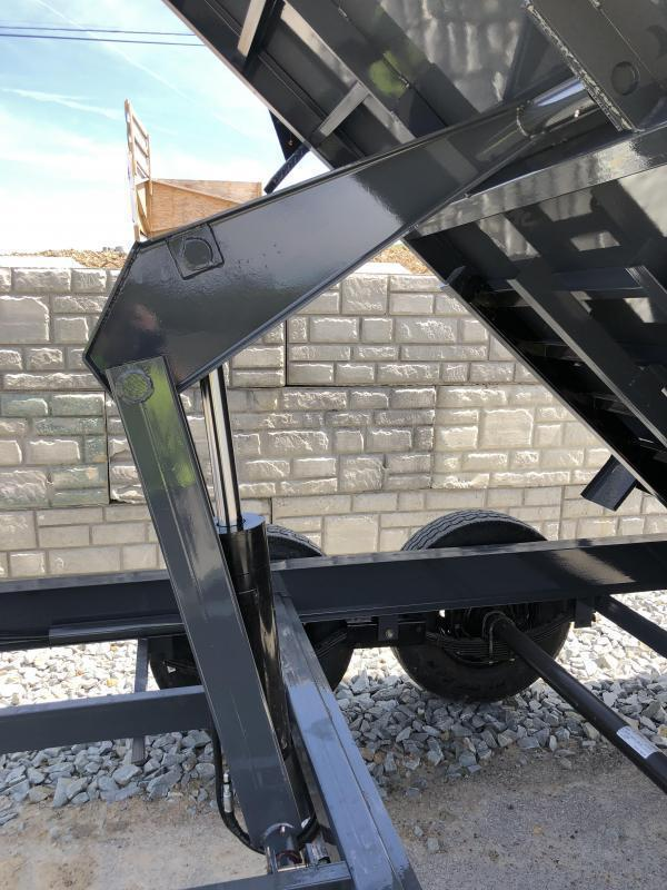 2018 Lamar 7x12' Dump Trailer 14000# GVW - DELUXE * TARP * RAMPS * SPARE MOUNT * 14-PLY TIRE UPGRADE *  12K JACK *  CHARCOAL WITH BLACK WHEELS * REAR SUPPORT STANDS * INTEGRATED VOLTAGE METER * OIL BATH * CLEARANCE - FREE ALUMINUM WHEELS