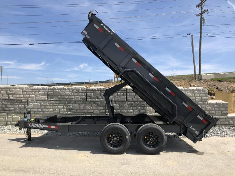 2018 Lamar 7x12' Dump Trailer 14000# GVW - DELUXE * TARP * RAMPS * SPARE MOUNT * 14-PLY TIRE UPGRADE *  12K JACK *  CHARCOAL WITH BLACK WHEELS * REAR SUPPORT STANDS * INTEGRATED VOLTAGE METER * OIL BATH