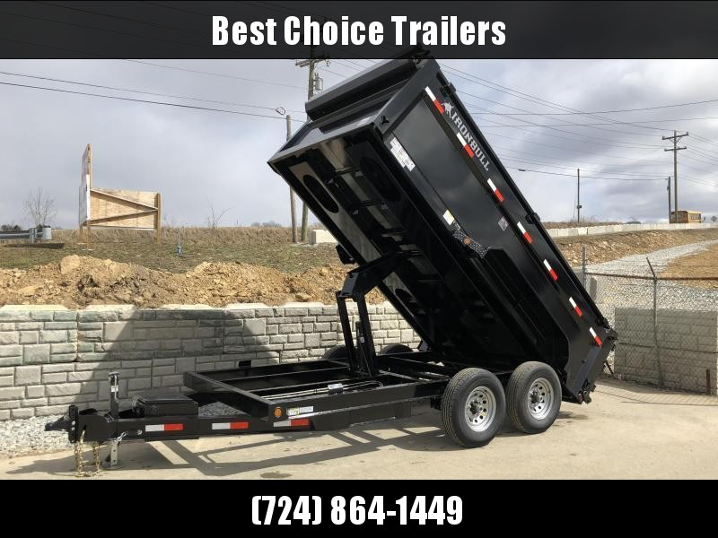 2018 Ironbull 7x14' 3' HIGH SIDES Dump Trailer 14000# GVW RAMPS * TARP * SCISSOR * 2ND TOOLBOX * SPARE MT * CLEARANCE - FREE ALUMINUM WHEELS