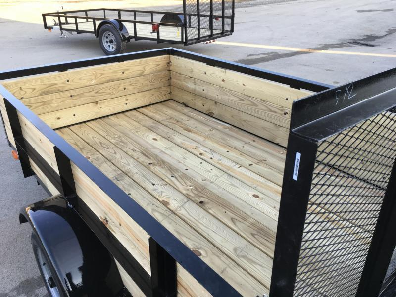 2019 AMO 5x8' Wood High Side Angle Iron Utility Landscape Trailer 2200# GVW