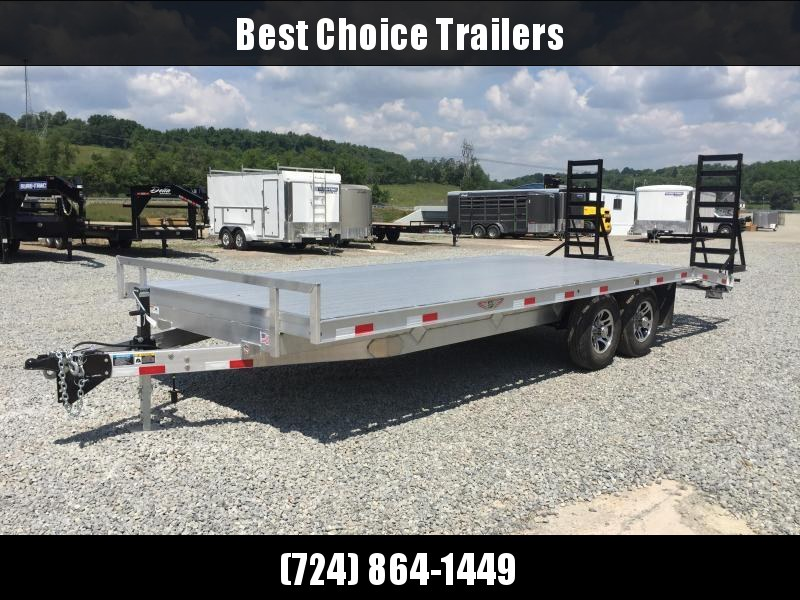 2018 H&H 102x16+4 9990# Aluminum Deckover Equipment Trailer STAND UP RAMPS * CLEARANCE - FREE ALUMINUM WHEELS & SPARE