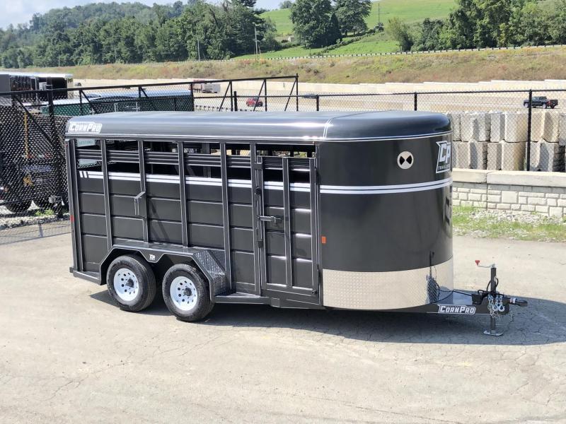 2019 Corn Pro 16' Livestock Trailer 7000# GVW * GREY