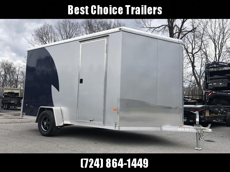 "2020 Neo 7x12 NAMR Aluminum Enclosed Motorcycle Trailer SINGLE AXLE 2990# GVW * INDIGO & SILVER * VINYL WALLS * ALUMINUM WHEELS * +12"" HEIGHT UTV SPORTS PACKAGE"