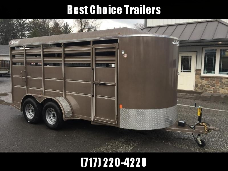 2019 Delta 16' Livestock Trailer 7000# GVW * BEIGE * CENTER GATE * ESCAPE DOOR * DEXTER