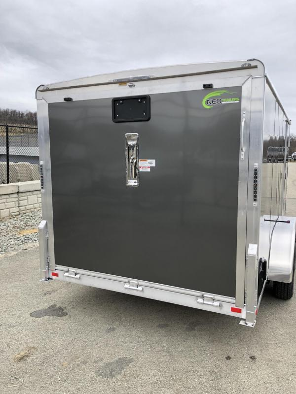 "2019 NEO Trailers 7x16' NAMR Aluminum Enclosed Motorcycle Trailer * BLACK * CHARCOAL * VINYL WALLS * ALUMINUM WHEELS * BASE & OVERHEAD CABINETS * NUDO FLOOR & RAMP * +6"" HEIGHT"