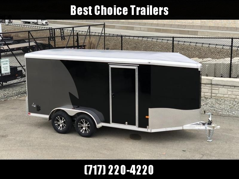 "2019 NEO Trailers 7x16' NAMR Aluminum Enclosed Motorcycle Trailer * BLACK * CHARCOAL * VINYL WALLS * ALUMINUM WHEELS * BASE & OVERHEAD CABINETS * NUDO FLOOR & RAMP * +6"" HEIGHT"