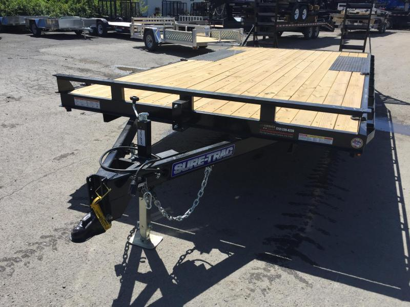 2019 Sure-Trac 102x17+3 9990# Deckover Equipment Trailer STAND UP RAMPS
