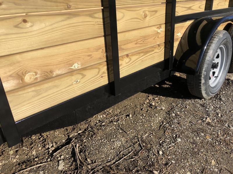"2019 AMO 76""x14' Wood High Side Angle Iron Utility Landscape Trailer 7000# GVW"